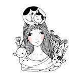 美丽的女孩、猫和郁金香 皇族释放例证