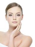美丽的女孩健康皮肤 免版税库存图片
