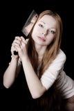 美丽的女孩刀子 免版税图库摄影