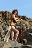 美丽的女孩剑 免版税库存照片