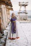 美丽的女孩北欧海盗 图库摄影
