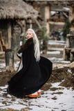 美丽的女孩北欧海盗 免版税图库摄影