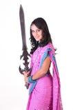 美丽的女孩印地安人剑 库存照片