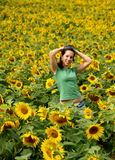 美丽的女孩向日葵 免版税库存图片