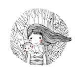美丽的女孩和一只逗人喜爱的猫 免版税库存图片