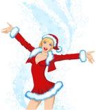 美丽的女孩圣诞老人诉讼 库存图片