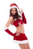 美丽的女孩圣诞老人 免版税库存照片
