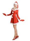 美丽的女孩圣诞老人 免版税图库摄影