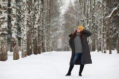 美丽的女孩在一个美丽的冬天公园 免版税图库摄影