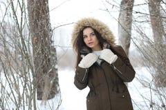 美丽的女孩在一个美丽的冬天公园 库存照片