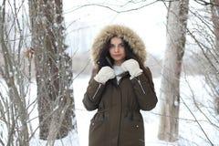 美丽的女孩在一个美丽的冬天公园 免版税库存图片