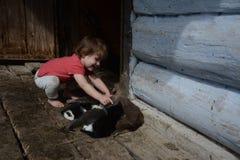 美丽的女孩在其中一个乌克兰村庄中 库存图片
