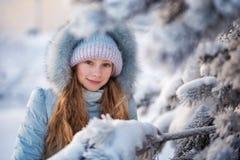 美丽的女孩在冬天森林里 库存照片