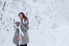 美丽的女孩在冬天森林里 免版税库存图片