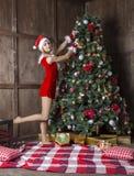 美丽的女孩在圣诞老人衣服穿戴了在圣诞树附近 免版税库存图片