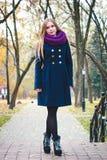美丽的女孩在城市 秋天画象 库存照片