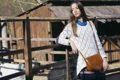 年轻美丽的女孩在有羊羔的鸟舍附近站立在城市zo 库存图片