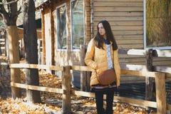 年轻美丽的女孩在木篱芭附近站立在城市动物园里 库存图片