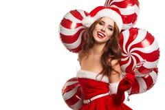 年轻美丽的女孩在演播室新年,圣诞节 库存照片
