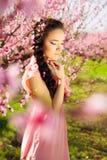 美丽的女孩在花盛开庭院里 库存照片