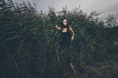 美丽的女孩在草丛林的密林在礼服 免版税库存照片