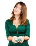 美丽的女孩在赌博娱乐场 免版税库存图片