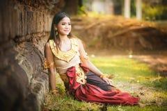 美丽的女孩在Apsara 图库摄影