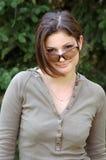美丽的女孩太阳镜 免版税图库摄影