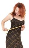 美丽的女孩头发的现有量米红色 库存照片