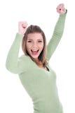 美丽的女孩她的显示年轻人的喜悦 免版税库存图片