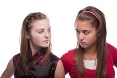 美丽的女孩少年二个年轻人 库存图片