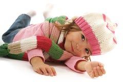 美丽的女孩帽子一点围巾佩带 库存照片