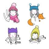 美丽的女孩帽子 野兔、鸟和狐狸 免版税库存照片