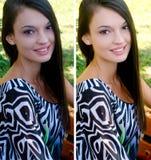 美丽的女孩微笑的画象坐一条长凳在公园,在修饰与photoshop前后 库存图片