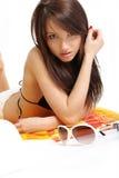 美丽的女孩性感的夏天 免版税库存图片