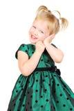 美丽的女孩愉快的小的纵向 库存照片