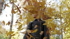 美丽的女孩投掷的叶子在公园,享用 幸福自由休闲概念 放松在秋天的孩子 影视素材
