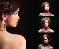 美丽的女孩拼贴画以在面孔和肩膀的伤痕 库存图片