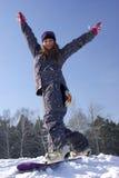 美丽的女孩挡雪板 免版税库存照片