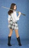 美丽的女孩日本人剑 图库摄影