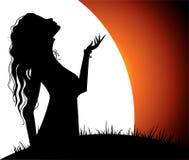 美丽的女孩月亮 免版税库存图片