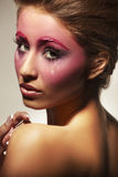 美丽的女孩构成粉红色纵向 图库摄影