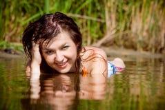 美丽的女孩水 库存照片