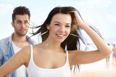 美丽的女孩海滩画象  免版税库存图片
