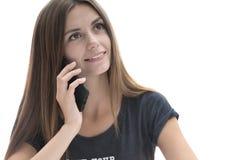 美丽的女孩电话 免版税图库摄影