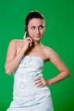 美丽的女孩电话 免版税库存图片