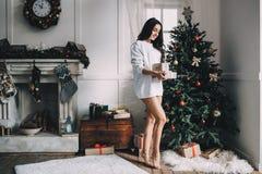 美丽的女孩画象在圣诞节前的 免版税图库摄影