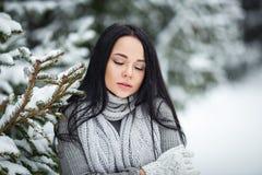 美丽的女孩画象室外在与雪的一个冬天 免版税库存图片