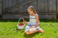 美丽的女孩画象有草莓篮子的  免版税库存图片
