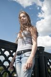 美丽的女孩画象桥梁蓝天背景的与在风的吹的头发 免版税图库摄影